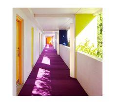 Purple carpet & Yellow doors The Saguaro Hotel, Arizona USA