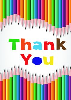 Pack of 12 Coloured Pencil Design Thank You Cards & envelopes