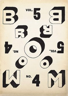 Broom: An International Magazine of the Arts, Cover design: El Lissitzky. Typography Layout, Typography Letters, Typography Poster, Graphic Design Typography, Graphic Design Art, Graphic Design Illustration, Graphic Design Inspiration, Logo Design, Alphabet Letters