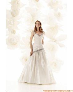 2013 Preiswerte liebste Brautmode aus Satin V-Ausschnitt mit Applikation