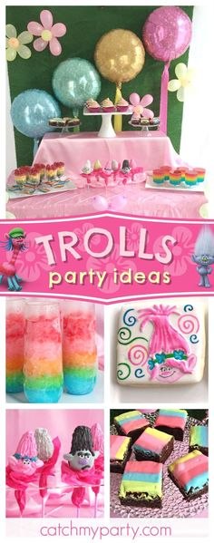 Check out this fun Trolls birthday party! The sugar cookies look delicious!! See more party ideas and share yours at CatchMYParty.com  #trolls #birthdayparty