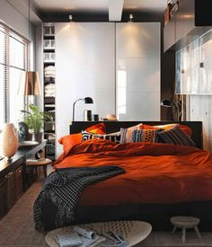 Ikea Bedroom Design and Decorating Ideas 2011 Orange Pillows and Blanket in Small Space Bedroom Design and Decorating Ideas 2011 by IKEA – Home Designs and Pictures-- LOVE! Would love to do this to my small bedroom Ikea Small Bedroom, Men's Bedroom Design, Small Bedroom Designs, Small Room Design, Small Rooms, Home Decor Bedroom, Bedroom Ideas, Small Spaces, Budget Bedroom