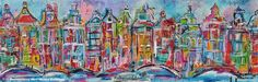 Dutch artist Mir / Mirthe Kolkman paints dutch cows amsterdam canals and animals art kunst stadsgezicht amsterdam city canals holland schilderij painting artworks houses grachtenpanden veelzijdig kunstenares the netherlands stadsschilderij kleurrijke sfeervol capitol