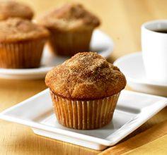 cinnamon apple muffins made using pancake mix