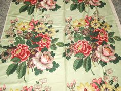 Vintage Floral Barkcloth FABRIC CABBAGE ROSES BROOKHAVEN 4 YARDS NEW OLD STOCK