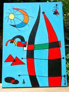 Homage an Miro Joan Miro Paintings, Famous Art Paintings, Pablo Picasso Cubism, Dada Artists, Automatic Drawing, Kandinsky Art, Mosaic Garden Art, Spanish Painters, Junk Art