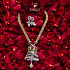 Treat your special one a treasure among the rarest in the world with this piece of jewellery, crafted by diamonds in gold. Choose your look this matrimony season. Pendant Design, Pendant Set, Diamond Pendant, Gold Pendant, Pendant Jewelry, Indian Gold Jewellery Design, Diamond Jewellery, Indian Jewelry, Jewelry Design