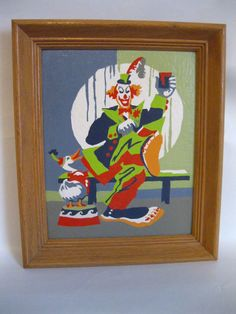 vtg 50s PAINT BY NUMBER CIRCUS CLOWN PAINTING HIS TOENAILS WITH DUCK IN FRAME
