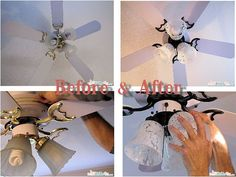 Home DIY: Ceiling Fan Makeover; specifically for painting the gold black. Need that for our light fixtures