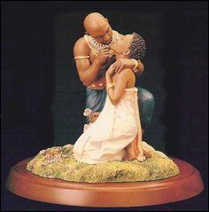 Thomas Blackshear-Ebony Visions-The Kiss-RETIRED African Figurines, African American Figurines, African American Art, African Art, African Imports, Thomas Blackshear, Art Thomas, Royal Art, Black Love Art