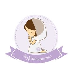 first communion girl vector by on Etsy Girl Silhouette, Prayer Board, First Holy Communion, Art Projects, Religion, Applique, Clip Art, Printables, Scrapbook