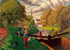 "John Luke (Irish, 1906 – - ""The Locks at Edenderry"", 1944 Belfast Museum, Judith And Holofernes, John Luke, Galleries In London, Art Uk, Small Paintings, London Art, What Is Tumblr, Art School"