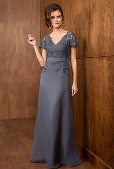 Jade by Jasmine. This A-line dress with V neckline is a beautiful and flexible gown suitable for any kind of special occasion. A layer of beautiful, floral lace covers wraps the bodice of this silky chiffon dress.