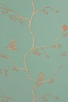 The+English+Robin+-+Jade - Artisanal Wallpaper from The Wallpaper Collective