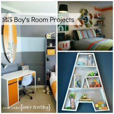 Sleep Tight: 25 Boy's Bedroom Projects.  I want the chalkboard walls for myself LOL !