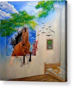 Acrylic print, painting, dreams,utopia,illusions,fantasy,lucid,surrealism,horse,jumping,room,bedroom,interior,window,open,bed,sky,night,moonlight,trees,equine,equestrian,wildlife,animals,walls,motion,action,visions,memories,imagination,scenery,weird,mystical,mystery,magical,poetic,whimsical,colorful,brown,in,at,over,into,with,through,of,the,fine,oil,artworks,images,hand made,hand painted,best,decor,artistic,items,products,for sale,fine art america