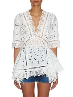 Hyper Eyelet broderie-anglaise top | Zimmermann | MATCHESFASHION.COM US Lover Dress, Lace Top Dress, Dressy Casual Outfits, Eyelet Top, Mature Fashion, Weekend Style, Cutwork, Cotton Lace, Lace Tops