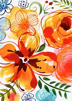 Margaret Berg Art: Artisanal+Floral+Orange