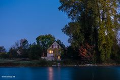 Limmat | #limmat #house #ferry #fahr #aargau #Switzerland - take a look at my photoblog under www.raegi.ch or with a click on the pin House Of The Rising Sun, Switzerland, Sunrise, Autumn, Mansions, House Styles, Home Decor, Pictures, Landscape