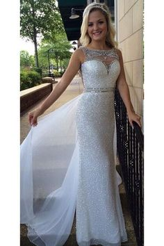 White Sequin Shiny Long Chiffon Prom Dresses,Beading Prom Dress,Sexy School Dancing Dress This dress is very cheap and good quality. It can be made with custom sizes and color. Elegant Party Dresses, Sequin Prom Dresses, Prom Dresses 2016, Beaded Prom Dress, Prom Party Dresses, Formal Evening Dresses, Dance Dresses, Pretty Dresses, Evening Gowns