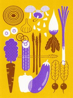 Boyoun Kim #food #print #screenprint Love the colors!