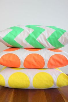 Decorative Throw Cushion Cover - (Neon on Taupe - green, yellow or orange)