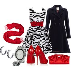 """Zebra in Red"" by laaudra-rasco on Polyvore"