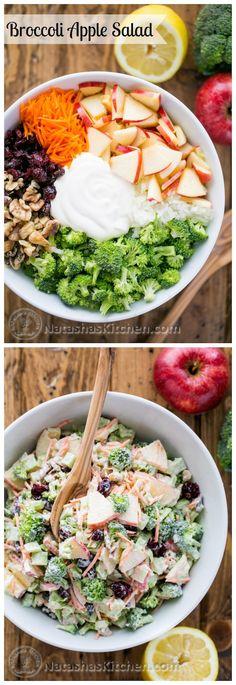 Esta ensalada de brócoli con manzanas, nueces y salsa de limón cremoso ha sido un favorito de la familia durante años.  Todos los sabores trabajan muy bien juntos.  La mejor ensalada de brócoli!  |  natashaskitchen.com