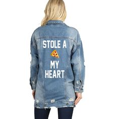 Stole a Pizza My Heart Patch Long Distressed Denim Jacket