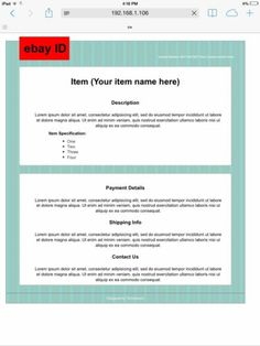 Simple EBay HTML Auction Listing Custom Template Design Hand Coded - Ebay item template
