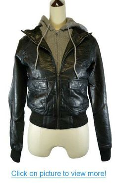 Faux Leather Bomber Jacket with Fleece Hood
