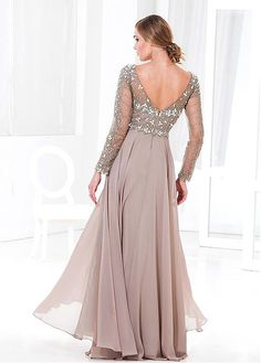 Buy discount Elegant Tulle & Chiffon A-line V-neck Neckline Full-length Mother of the Bride Dress at Magbridal.com