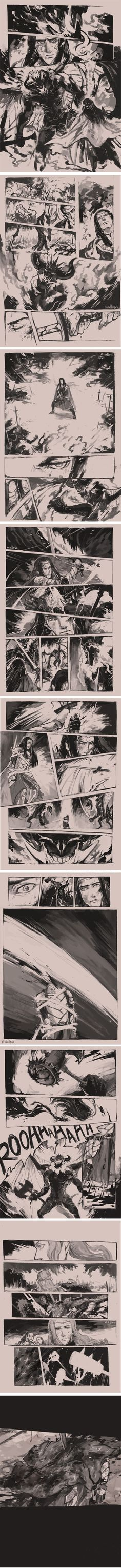 The death of Fingon, in comic format. All the heartbreak of Nirnaeth Arnoediad, now illustrated! Say goodbye to whatever is left of your shattered hearts, Silmarillion fans! *cries*