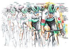 """""""Band of Brothers!"""" Daniel Oss, BORA-hansgrohe, kämpferischter Fahrer, 7. Etappe der 107. Tour de France 2020 (70x100cm) Band Of Brothers, Cycling Art, Road Cycling, Bike Art"""