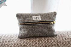 wool felt zip pouch