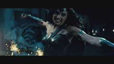 Wonder Woman throws a powerful punch at Doomsday.