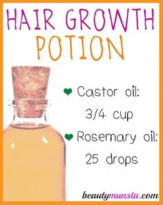 Castor Oil Rosemary Hair Growth Oil for Thinning Hair - beautymunsta - free natural beauty hacks and more! - Here's the recipe for castor oil rosemary hair growth oil for thinning hair - Natural Beauty Tips, Natural Hair Styles, Natural Oils, Lotion, Luscious Hair, Home Remedies For Hair, Natural Hair Growth Remedies, Hair Growth Oil, Castor Oil For Hair Growth