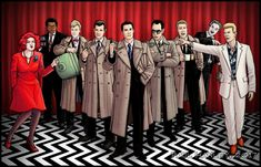 """Twin Peaks"" ""Blue Rose"" commission by Paul Hanley. The characters from left to right: Lil the Dancer (Kimberly Anne Cole), Roger Hardy (Clarence Williams III), Sam Stanley (Kiefer Sutherland), Chester Desmond (Chris Isaak), Dale Cooper (Kyle MacLachlan), Albert Rosenfeld (Miguel Ferrer), Gordon Cole (""Twin Peaks"" creator David Lynch), Windom Earle (Kenneth Walsh), and Phillip Jeffries (David Bowie)."