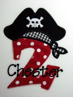 Personalized Pirate Shirt with Age or Initial and Pirate's Hat.  Short Sleeve Shirt, Boys, Red dots, black gingham on Etsy, $18.00