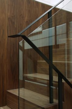 Ballustrade only option ? Simple Floating Glass with steel handrail over and folded back down the stairs.
