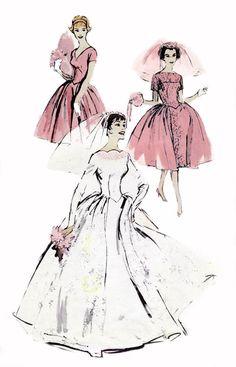 1950s Wedding & Bridesmaids Dress Pattern by allthepreciousthings, $75.00
