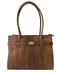 3d8bfd55ffe cognac bruine leren handtas Deze tas is te gebruiken als handtas.  incl.schouderriem Binnenin