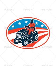 gardener mowing rideon lawn mower cartoon lawn mower lawn and cartoon rh pinterest com lawn mower service logos cool lawn mower logos