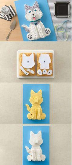 Gâteau chien Husky avec deux gâteaux rectangulaires. 14 Merveilleux gâteaux d'anniversaire pour enfants sans moule spécial