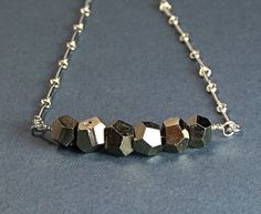 Pyrite Mini strand Sterling Necklace  N381 by TheSilverBear, $38.00