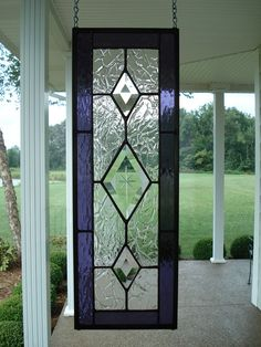 Stained Glass Purple & Beveled Diamond Window by TheGlassShire