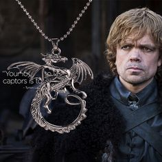 High quality Song Of Ice And Fire Game Of Thrones Targaryen Dragon Badge Necklaces & Pendants Gun Black collares For  Men N325