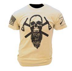 Fear The Beard II T-Shirt - Grunt Style Military Men's Beige Graphic Tee Shirt