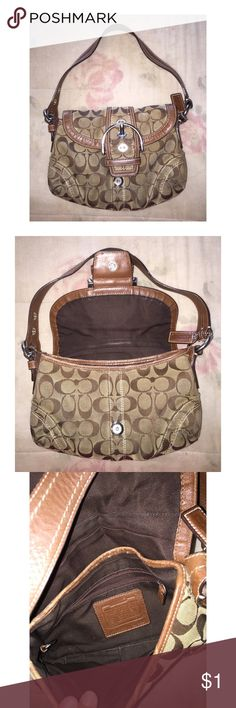 Coach Purse Original logo Coach shoulder purse. It is used and does show signs of wear on the outside bottom. There is also a lipstick mark on the inside bottom, but otherwise, still in great condition. Coach Bags