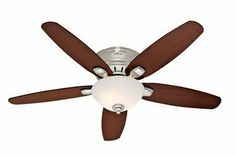 20% cut off Hunter 28701 Fremont 52-Inch 5-Blade Single Light Ceiling Fan, Brushed Nickel with Roasted Walnut/Stained Oak Blades and Frosted Glass Bowl